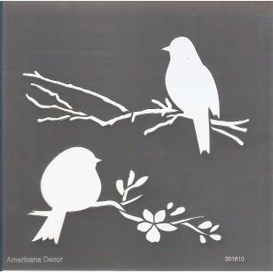 Pochoir - Abeilles et oiseaux
